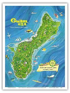 Guam usa map vintage world travel art poster print ebay image is loading guam usa map vintage world travel art poster gumiabroncs Gallery