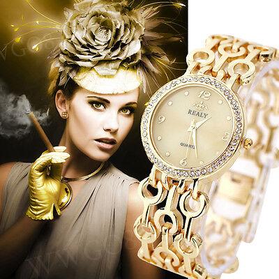 Fashion Women Watch Bracelet Luxury Crystal Dial Alloy Dress Analog WristWatches