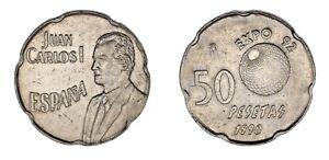 50-PESETAS-1990-Cu-Ni-JUAN-CARLOS-I-ERROR-PANToGRAFO-XF-EBC-LIQUIDACIoN