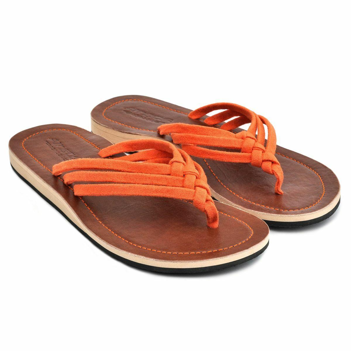 LESTARIE Damen Sandale Leder Zehentrenner Sandalen Zehensteg Flip Flop Gr.36-43