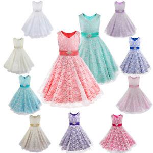 heiß-verkaufender Fachmann schön Design Großhändler Details zu Kinder Mädchen Kleid Spitze Blumenmädchen Kleider Ballkleid  Partykleid 104-176