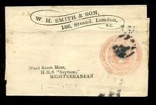GB QV ADVERTISING RING STATIONERY 1d W.H SMITH to SHIP HMS NEPTUNE MEDITERANNEAN