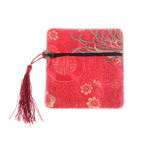 1PC Silk Jewelry Chinese Coin Tassel Zipper Pouch Bags Wedding Party Gift UB YN