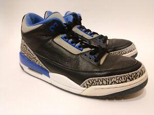 453bcfbd21ab30 Nike Air Jordan Retro 3 136064-007 Black Sport Blue Wolf Grey Cement ...