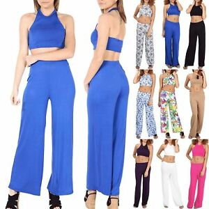 98074746a9 Women's Co Ord Set Ladies Wide legs Loose Palazzo 2 Piece Halter ...