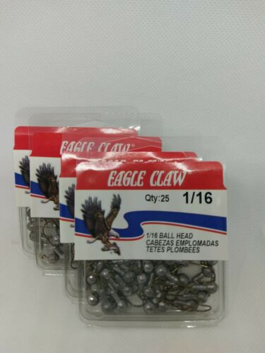 100 Ct #4 Eagle Claw Hook. 1//16oz Unpainted Round Head W//barb Crappie Jigs