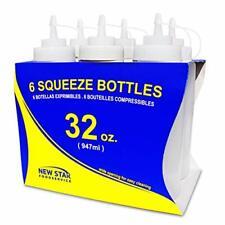 Wide Mouth Plastic 6 Pcs Condiment Dispenser Sauce 32 Oz Clear Squeeze Bottles
