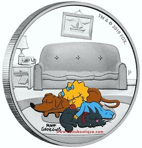 THE-SIMPSONS-MAGGIE-1oz-Silver-Coin-Proof-Tuvalu-2019-first-day-of-ssue