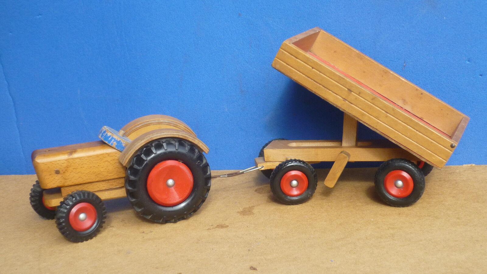 Holztraktor Holztraktor Holztraktor mit Hänger DDR zeit kippbar lenkbar 72ea84