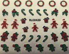 Nail Art 3D Glitter Decal Stickers Christmas Gingerbread Man Candycane BLE943D