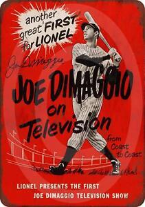 "1950 Joe DiMaggio on Television Rustic Retro Metal Sign 8"" x 12"""