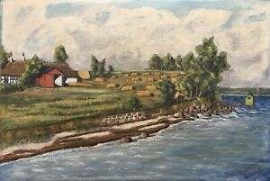 Oil-Painting-Coastal-Landscape-Elsehoved-Denmark-Holiday-Insel-Fyn-Baltic-Sea