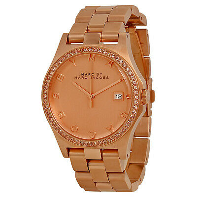 Marc by Marc Jacobs Henry Crystal Rose Dial Rose Gold-tone Ladies Watch MBM3357