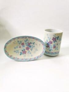 Vintage-Toothbrush-Cup-and-Soap-Dish-Royal-Ames-Floral-Flower-Set-Made-in-Japan