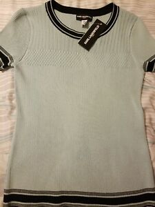 NWT-KARL-LAGERFELD-Paris-Women-039-s-Size-Small-Knit-Short-Sleeve-Top
