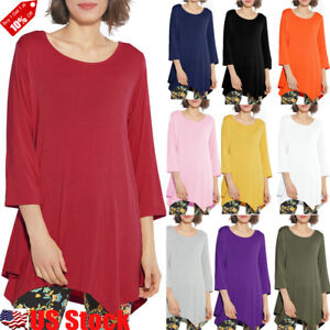 Plus-Size-Women-3-4-Sleeve-Round-Neck-Tunic-Top-Ladies-Casual-Swing-Long-T-Shirt