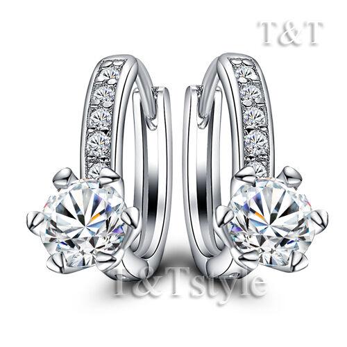 ED83 T/&T 18K White Gold GF Luxury U Sharp Hoop Earrings