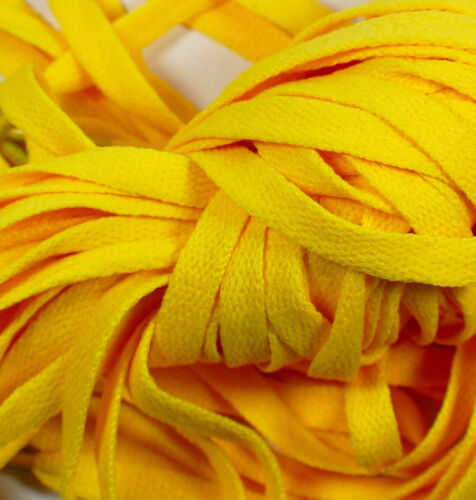 """1 Pair Set Yellow Shoelaces Shoe Strings Lace Sneakers Flat 47/"""" Amarillo New"""