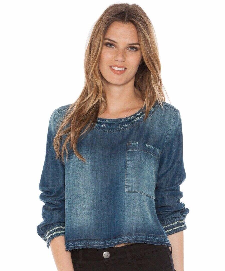 Neu CLOTH & STONE SzXS RAW EDGE langärmlig DENIM Hemd mit Tasche ISLAY WASH