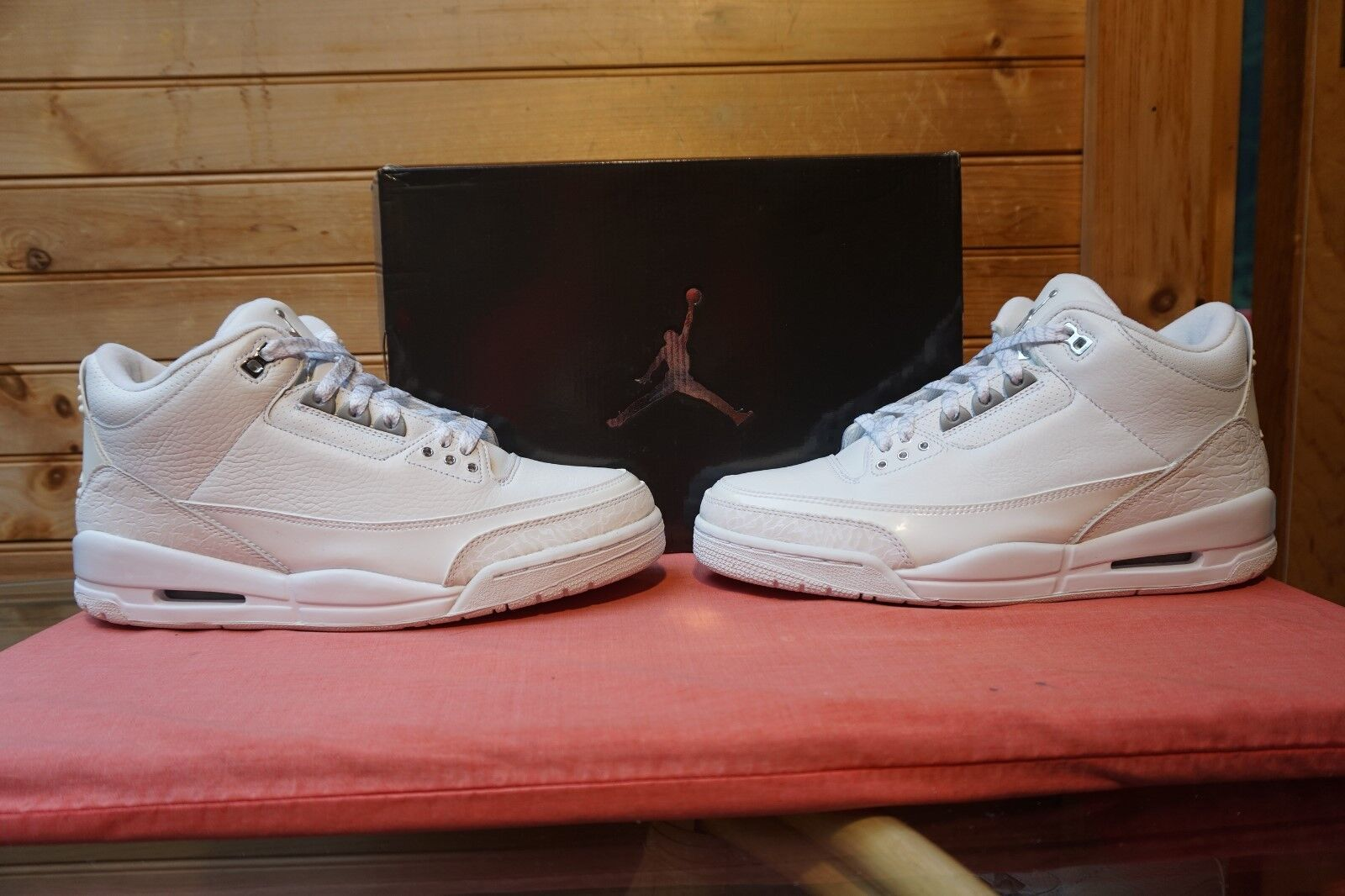 2007 Nike Air Jordan 3 Retro Pure Money White Met Silver Sz 10 (4871) 136064-103