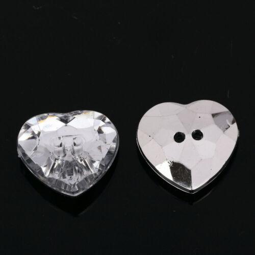 AB5 20pcs Sew on Diamante HEART BUTTONS Sparkle Acrylic Crystal Rhinestone