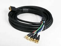 12ft Black Vga Hd-15 To 5 Bnc Rgb Video Cable For Hdtv Extension Monitor Cable on Sale