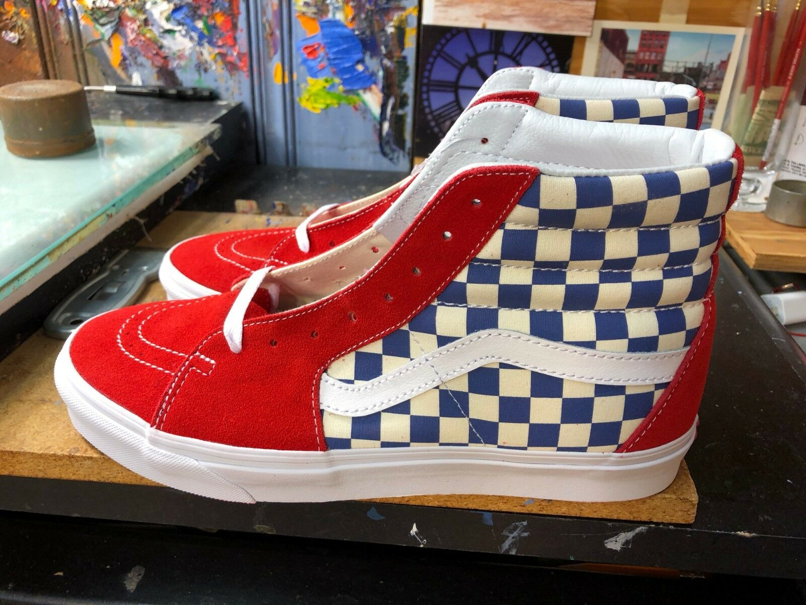 Vans SK8-Hi (BMX Checkerboard) True bluee Red Suede Size US 11.5 Men VN0A38GEU8H