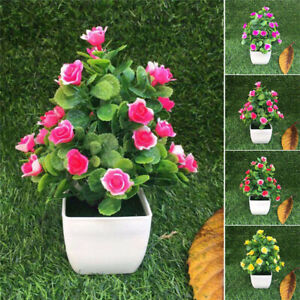 Realistic-Artificial-Flowers-Plant-In-Pot-Outdoor-Home-Office-Decoration-Gift