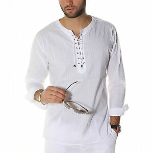 Image Is Loading Mens Envy Lace Up Tunic Shirt White Beach