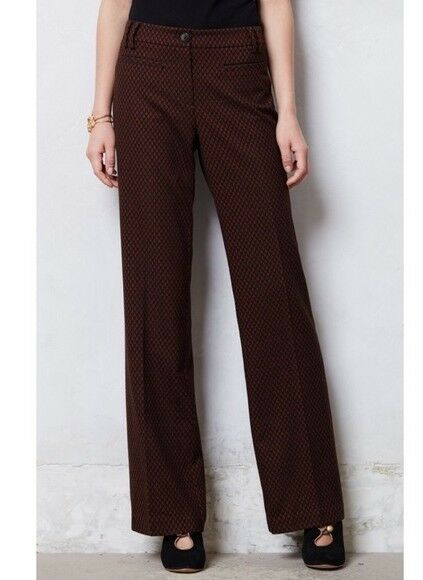 Leifsdottir Womens Dress Pants Textured Marola Wide Legs 6 Brown ANTHROPOLOGIE