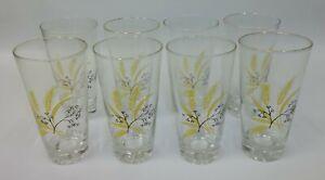 8-Vintage-Century-Autumn-Gold-Wheat-Pattern-5-5-034-Tall-Barware-Drinking-Glasses