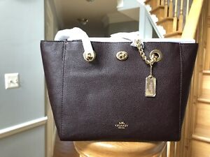 NWT-COACH-Retail-TURNLOCK-CHAIN-TOTE-27-PEBBLE-LEATHER-57107-OXBLOOD-W-Dustbag