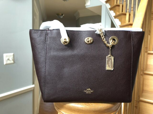 Coach 57107 Turnlock Chain Tote 27 in Polished Pebble Leather Chalk White