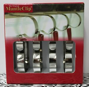 Original Mantle Clips 4 Pack Silver Christmas Stocking Hanger