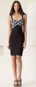 Herve-Leger-Grey-And-Black-Crossover-Colorblock-Sweetheart-Bandage-Dress-M