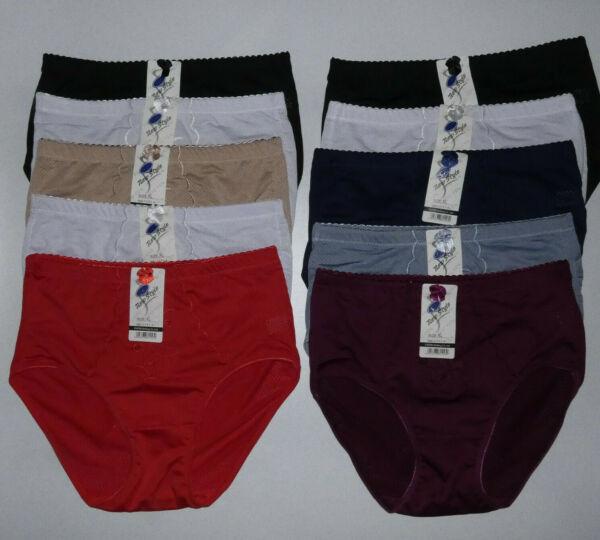 Slips Damen Unterhosen 10-er Set 553 Mikrofaser unifarben Panty Große 40 bis 54