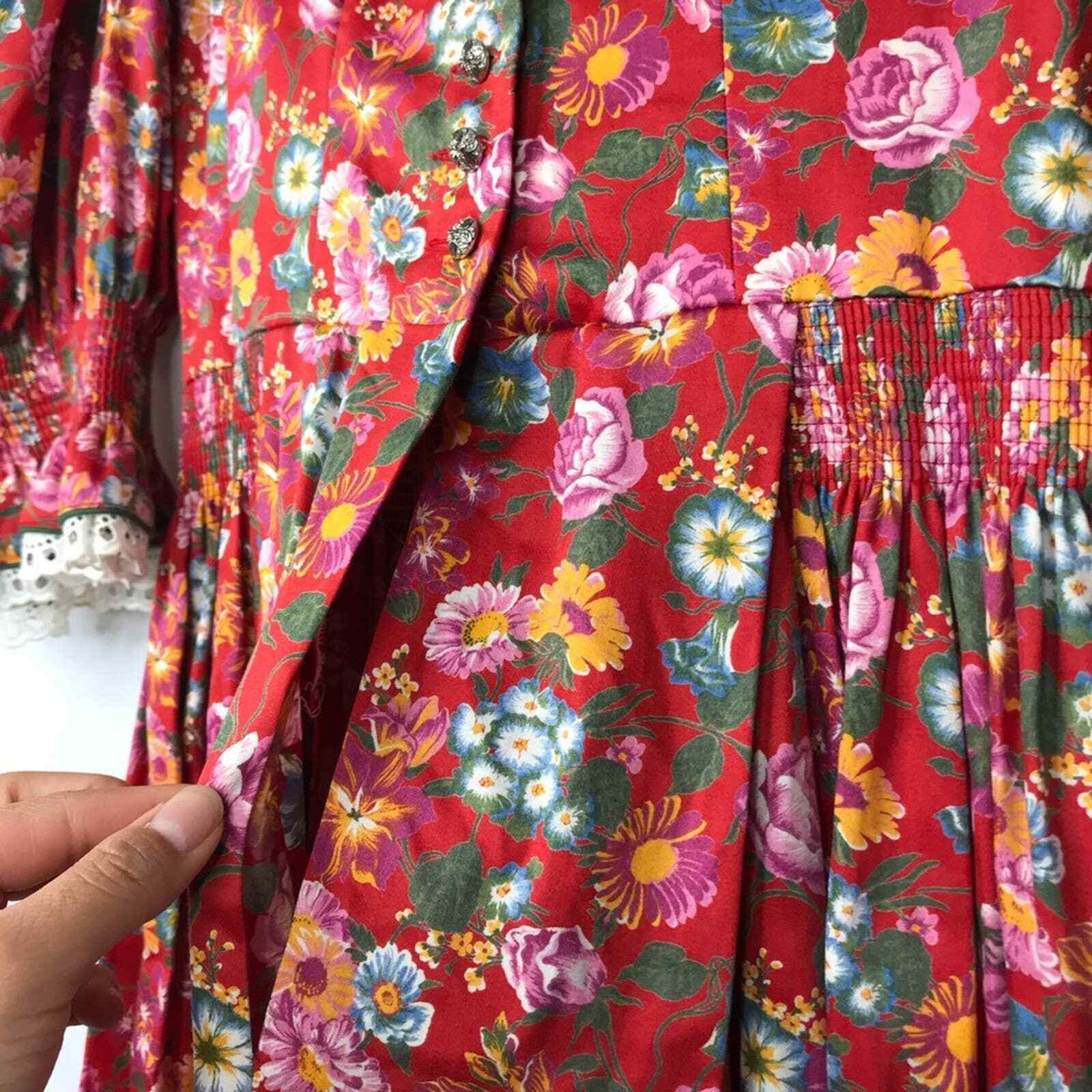 60s Style cottagecore floral prairie pleated dress - image 10