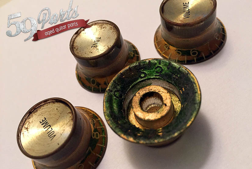 "Reflector Head Knobs Ltd Set 4 /""Black/'n/'Gold/"" Goldface  US//CTS-Gibson® Pots"