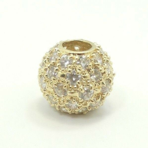 Very Nice 14K Y gold CZ Studded .6 Inch Round Bead Sliding Charm Pendant D4192