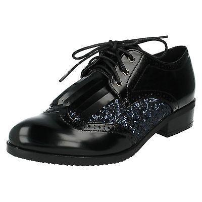 Mujer Spot On Flequillos VAMP Purpurina PANELES Zapatos Con Cordones f9842