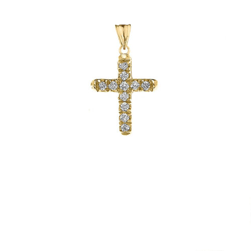 10k Yellow Gold Mini Elegant  Diamond Cross Pendant Necklace