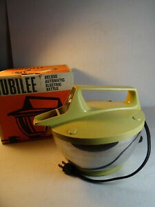 Jubilee-Electric-Tea-Kettle-2-Quart-With-Box-Gold-Stainless-Bowl-Model-14