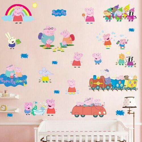 Cartoon Trains Wall Stickers Removable Kids Decals Nursery Decor Art Mural DIY