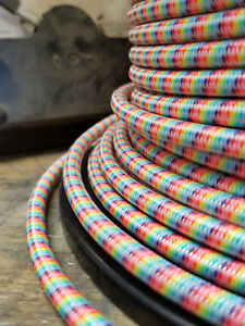 Details about Rainbow Cloth Covered 3-Wire Round Cord, Fabric Color on