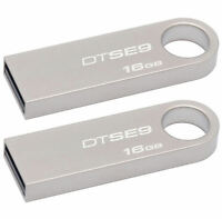 Lot Of 2 Kingston Datatraveler 16gb Usb 2.0 Memory Flash Drive Metal Dt Se9 Pack