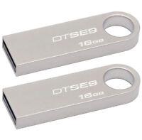 Lot Of 2 Kingston Datatraveler 16gb Usb 2.0 Memory Flash Drive Metal Dt Se9 Pack