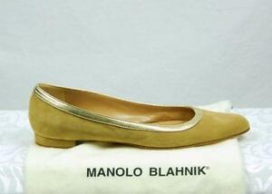 """4b4fc96177 MANOLO BLAHNIK """"SIGNED BY MANOLO"""" TAN SUEDE FLATS SIZE 40 NWOB"""