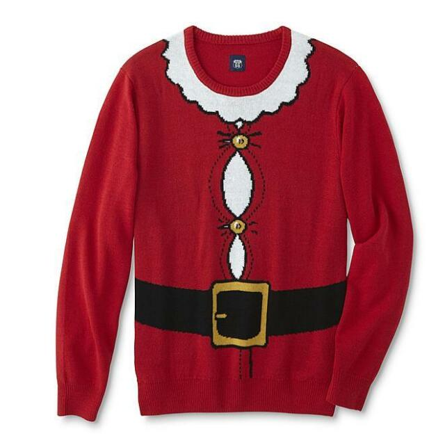Route 66 Big Men Ugly Christmas Crew Neck Sweater Red Santa Claus Suit 3XLT