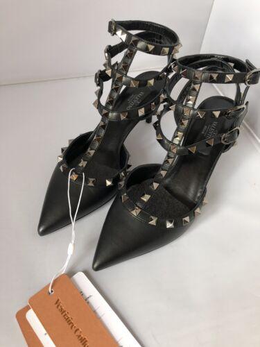 36 Bnib con Bellissimi Valentino di taglia Sandali ginocchio al 5 nero tacco Rockstud 77vxq