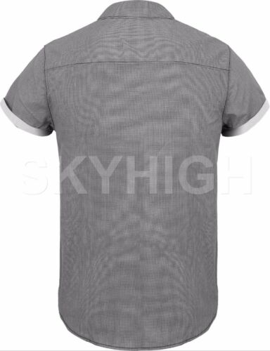Mens BUTTON DOWN SHORT SLEEVE Tee Summer Casual Top Collared Western T Shirts